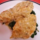 Chicken with Spinach in a white wine cream sauce